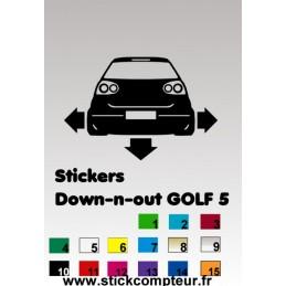 1 stickers Down-n-out GOLF 5 - StickCompteur création stickers personnalisés