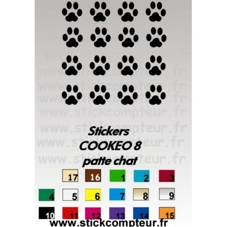 16 stickers COOKEO 8 patte chat - 1