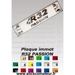 Plaque Immatriculation R32 PASSION - StickCompteur création stickers personnalisés