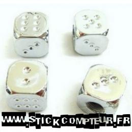 4 Valves de roue en forme de dé chromer - StickCompteur création stickers personnalisés