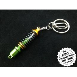 Porte-clés amortisseur jaune et vert