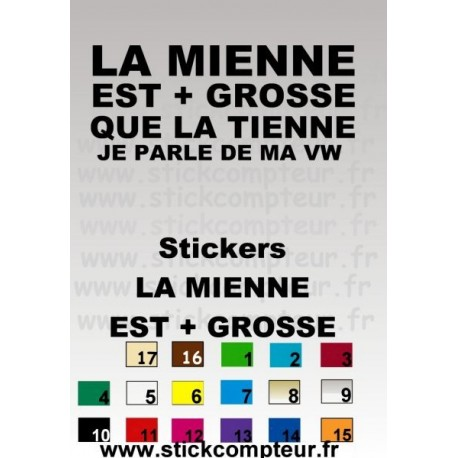 Stickers LA MIENNE + GROSSE QUE LA TIENNE JE PARLE DE MA VW - StickCompteur création stickers personnalisés