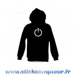 SWEAT-SHIRT capuche BOUTON BLANC - StickCompteur création stickers personnalisés