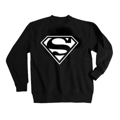 SWEAT-SHIRT sans capuche col rond SUPERMAN BLANC - StickCompteur création stickers personnalisés