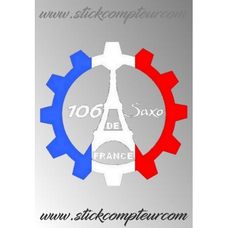 STICKERS 106 ET SAXO DE FRANCE 3 couleurs