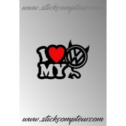I LOVE MY VW DIABLE STICKERS