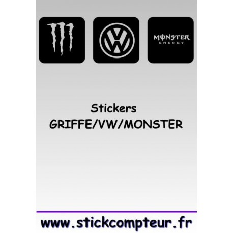 Stickers GRIFFE/VW/MONSTER 1