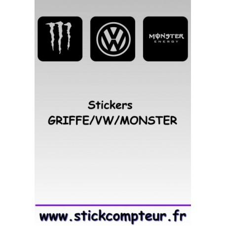 Stickers GRIFFE/VW/MONSTER 1 - StickCompteur création stickers personnalisés