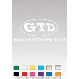 Autocollant GOLF GTD PASSION 3 BLANC - StickCompteur création stickers personnalisés