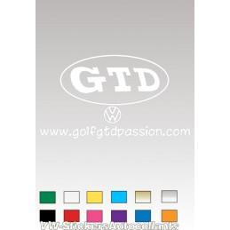 Autocollant GOLF GTD PASSION 4 BLANC - StickCompteur création stickers personnalisés