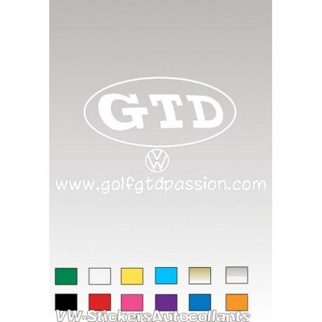 Autocollant GOLF GTD PASSION 4 BLANC - 1