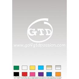Autocollant GOLF GTD PASSION 5 BLANC - StickCompteur création stickers personnalisés