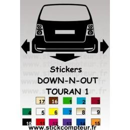 Stickers DOW-N-OUT TOURAN 1 - StickCompteur création stickers personnalisés