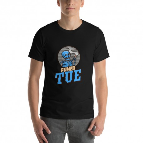 T-shirt Unisexe à Manches Courtes FUMER TUE motif bleu - StickCompteur création stickers personnalisés