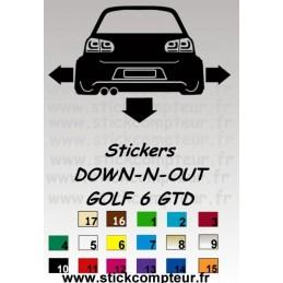 Stickers DOW-N-OUT GOLF 6 GTD - StickCompteur création stickers personnalisés
