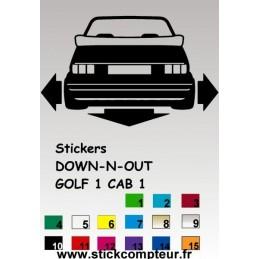 Stickers DOW-N-OUT GOLF 1 CAB 1 - StickCompteur création stickers personnalisés