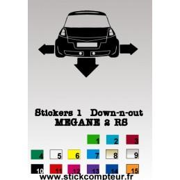 Stickers 1 Down-n-out MEGANE 2RS - StickCompteur création stickers personnalisés