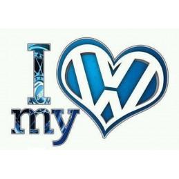 I LOVE MY VW ROSE OU BLEU 1021 Stickers* - StickCompteur création stickers personnalisés