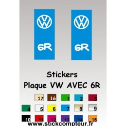 2 Stickers de plaque d'immatriculation VW ET SR - StickCompteur création stickers personnalisés
